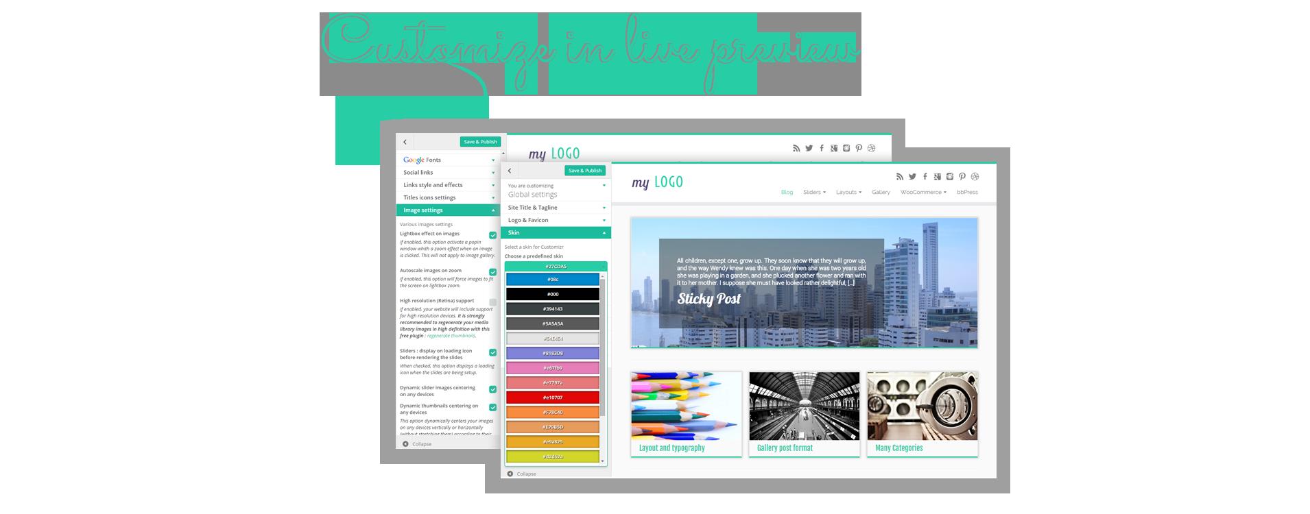 Viele Layout- und Designoptionen stehen über den WordPress-Customizer zur Verfügung: Sehen Sie gleich Ihre Änderungen!
